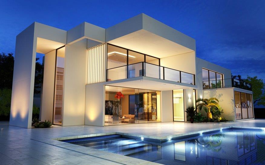 Ein Bauhaus mit Pool